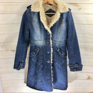 Steve Madden Women's Fur Lined Denim Coat Med